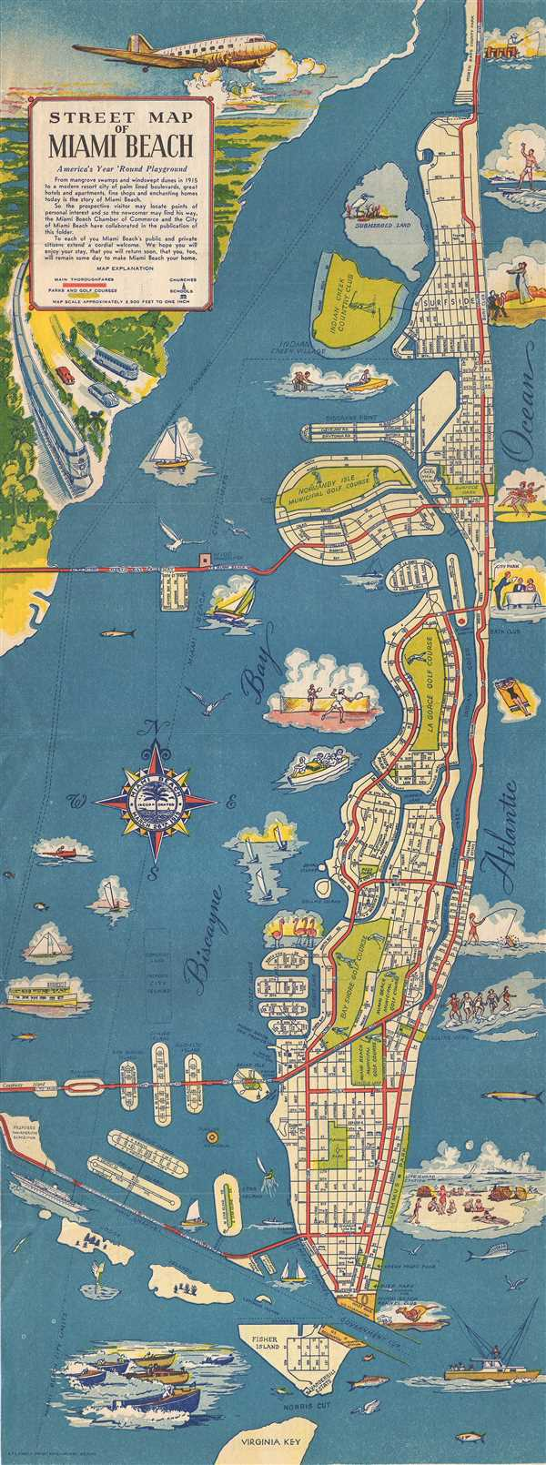 street map of miami beach.: geographicus rare antique maps