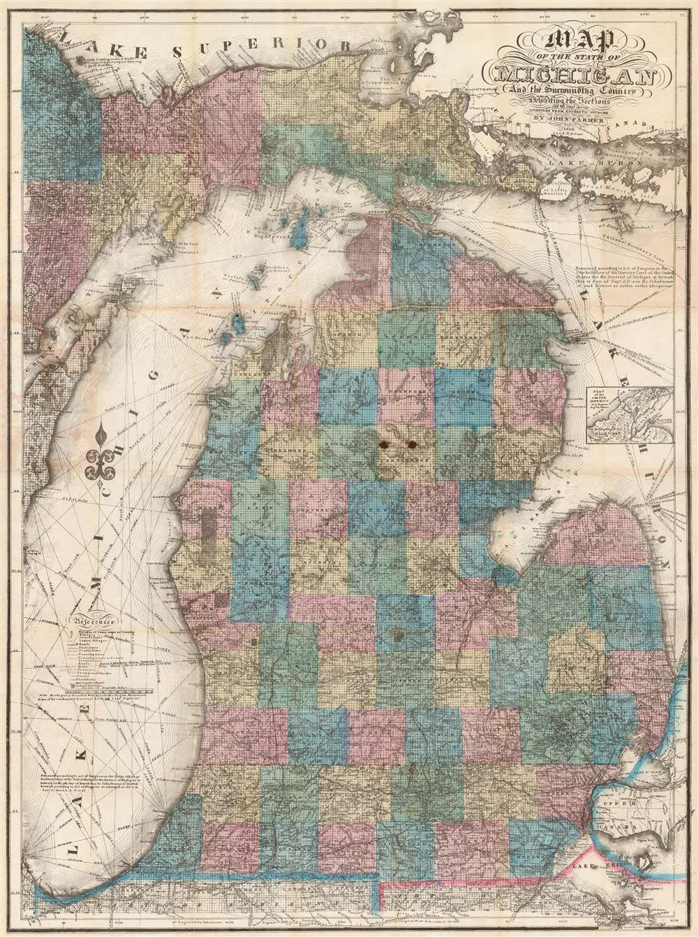 Map of the State of Michigan and the Surrounding Country.
