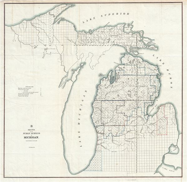 Michigan Public Land Map B Sketch of the Public Survey in Michigan.: Geographicus Rare