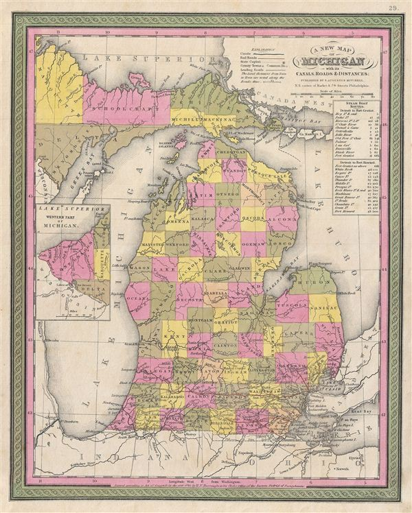 A New Map of Michigan with its Canals, Roads & Distances.