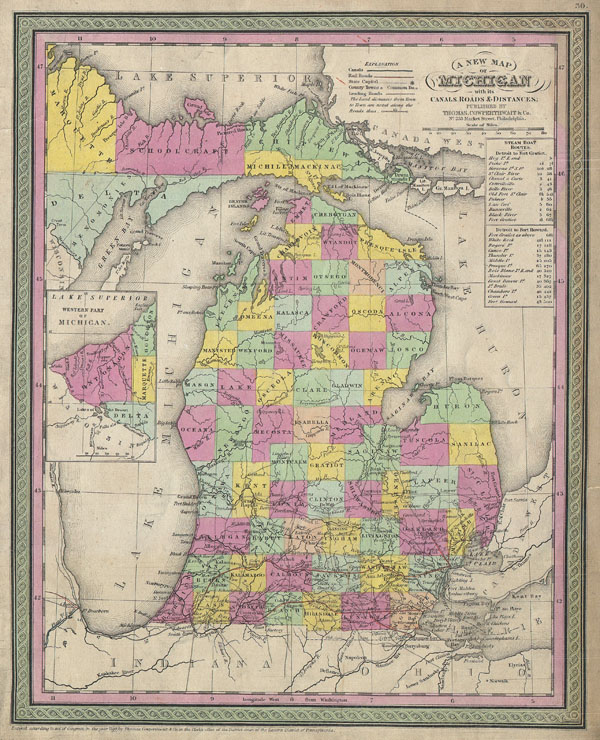 A New Map of Michigan with its Canals, Roads & Distances. - Main View