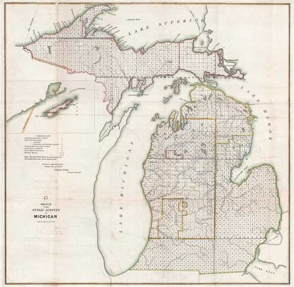 1852 Noble Land Survey Map of Michigan