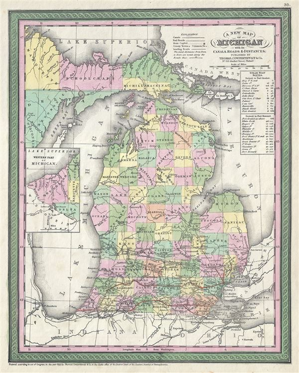 A New Map of Michigan with its Canals, Roads and Distances.