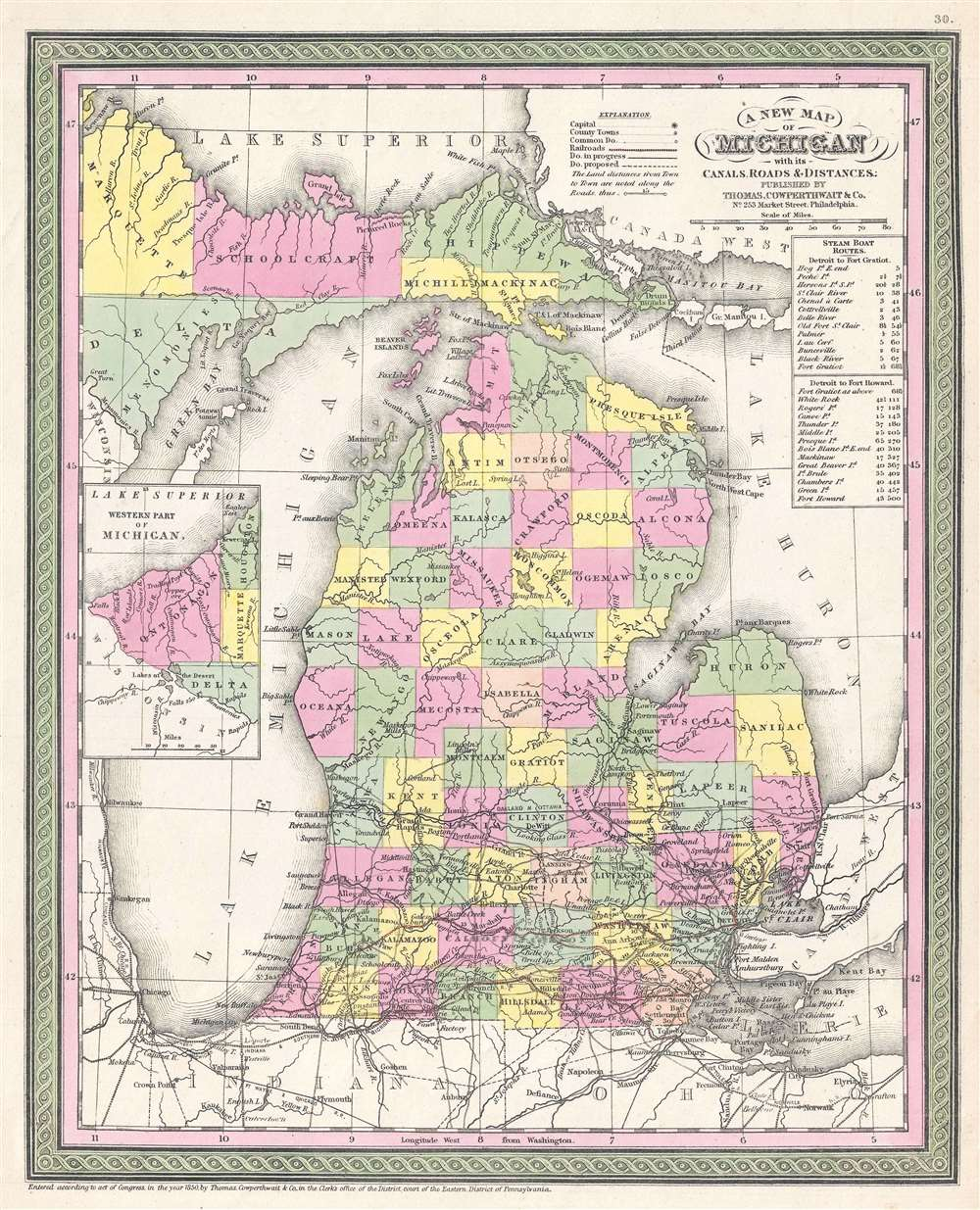 A New Map of Michigan with its Canals, Roads and Distances. - Main View