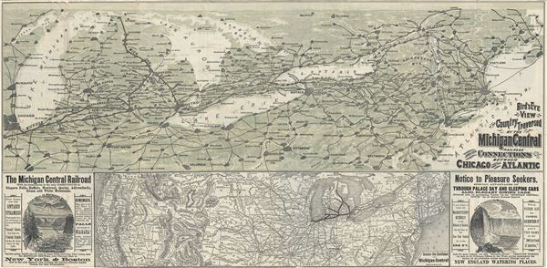 Bird's Eye View of the Country Traversed by the Michigan Central Railroad and its Connections between Chicago and the Atlantic. - Main View