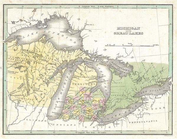 Michigan and the Great Lakes.: Geographicus Rare Antique Maps