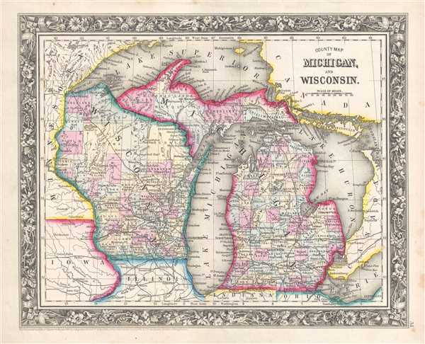 1861 Mitchell Map of Michigan and Wisconsin