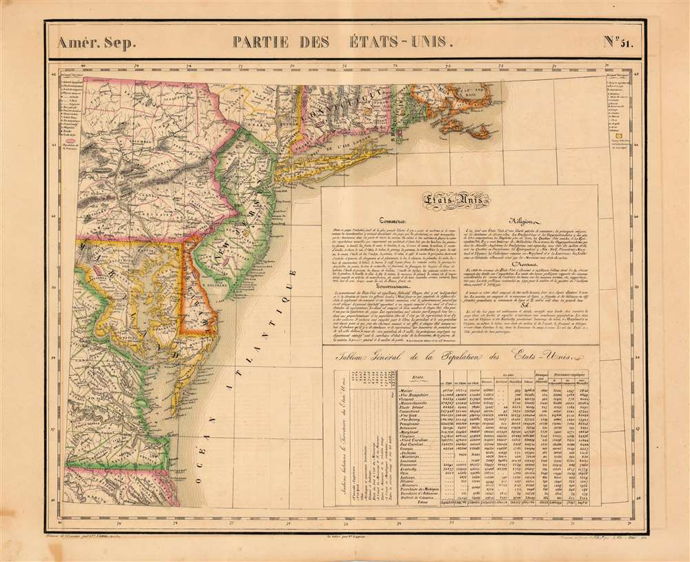 1827 Vandermaelen Map of New Jersey, Delaware and the Mid-Atlantic States