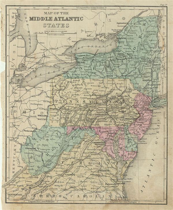 Map of the Middle Atlantic States.