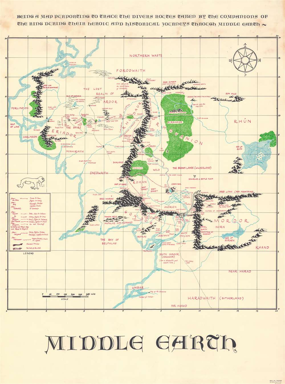 Middle Earth. Being a map purporting to trace the divers routes taken by the companions of the ring during their heroic and historical journeys through Middle Earth. - Main View