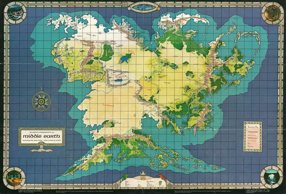 An Artist's Interpretation of Middle Earth including the Wild Lands - east, south, and north. - Main View