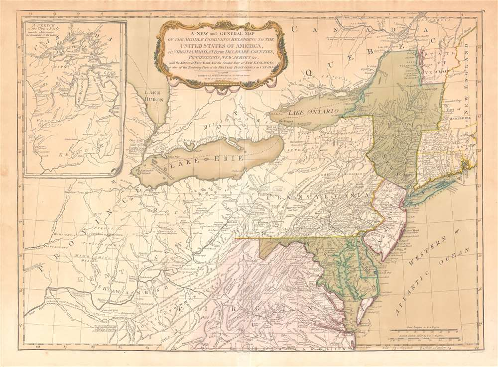 1755 / 1794 Lewis Evans Map of the Ohio River Valley / Mid-Atlantic States