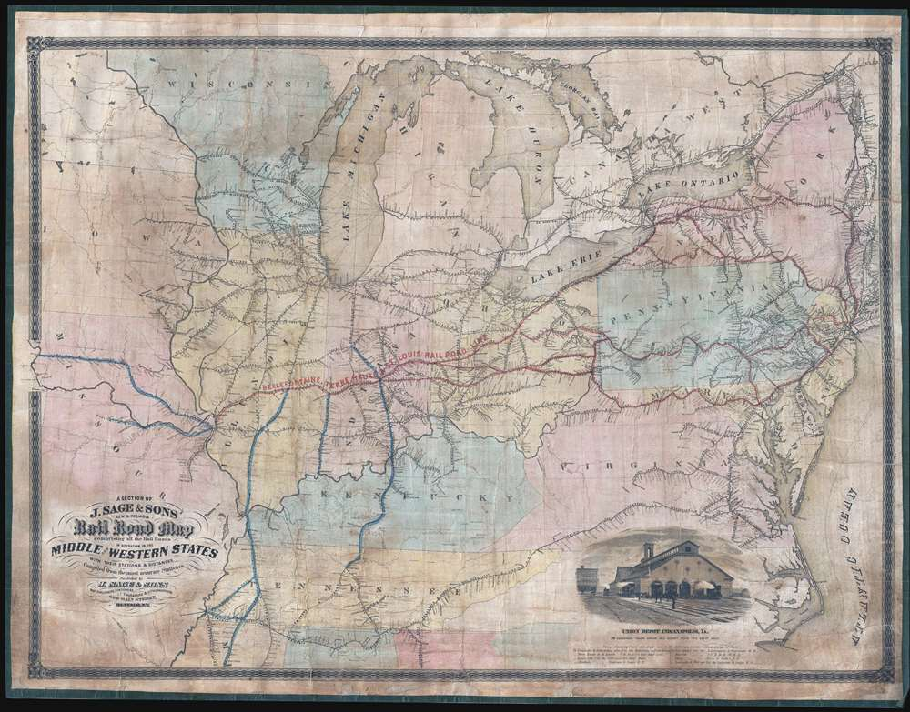 A Section of J. Sage and Sons New and Reliable Rail Road Map comprising all the Rail Roads in operation in the Middle and Western States with their stations and distances. - Main View