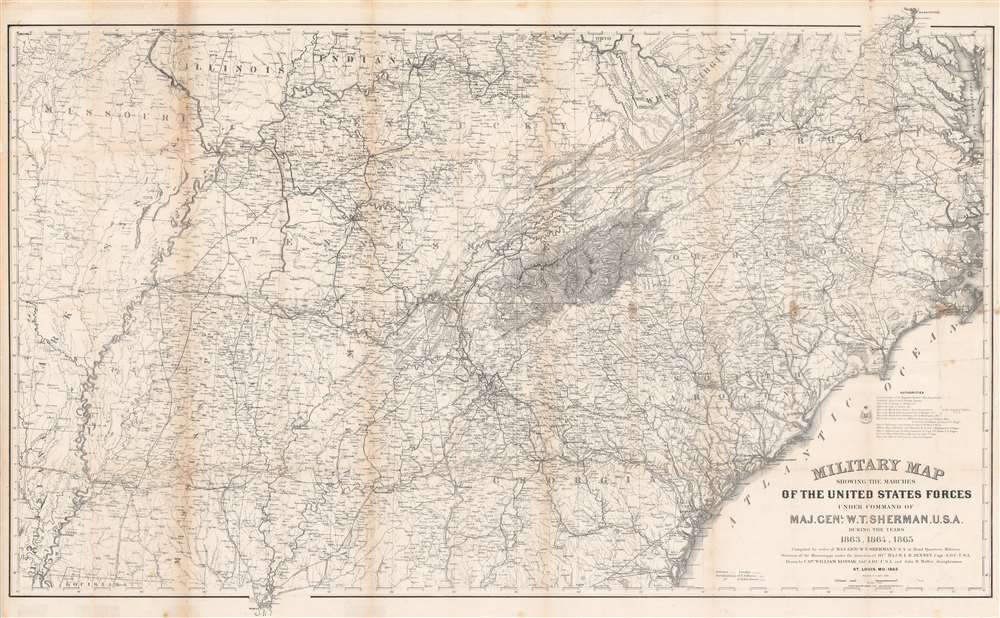 1865 Kossak Map of the Marches of General Sherman (Civil War)
