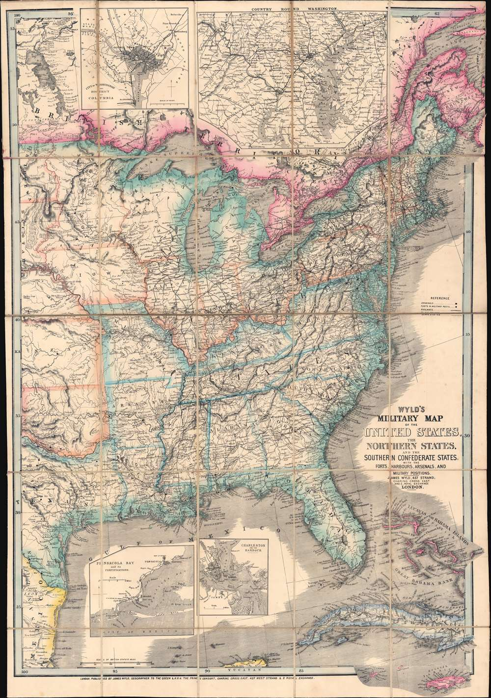 1861 Wyld Map of the United States during the Civil War