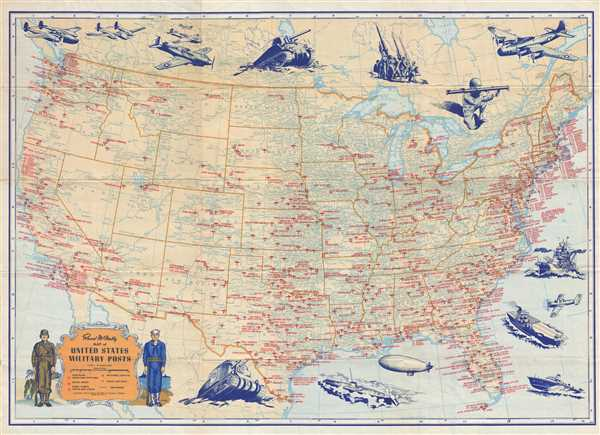 Details about 1944 Rand McNally Pictorial Map of Military Bases Across the  United States