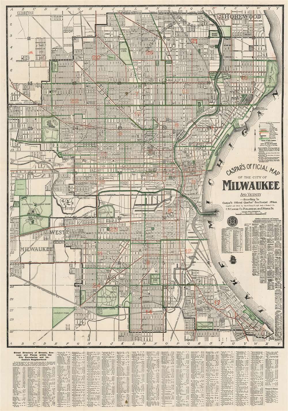 Caspar's Official Map of the City of Milwaukee and Vicinity. - Main View