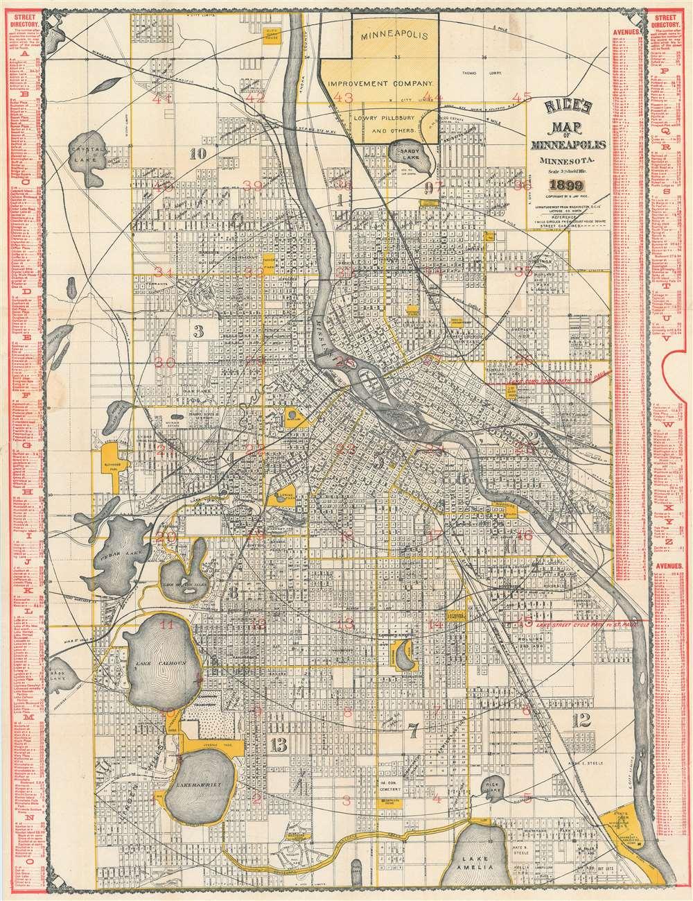 Rice\'s Map of Minneapolis Minnesota.: Geographicus Rare ...