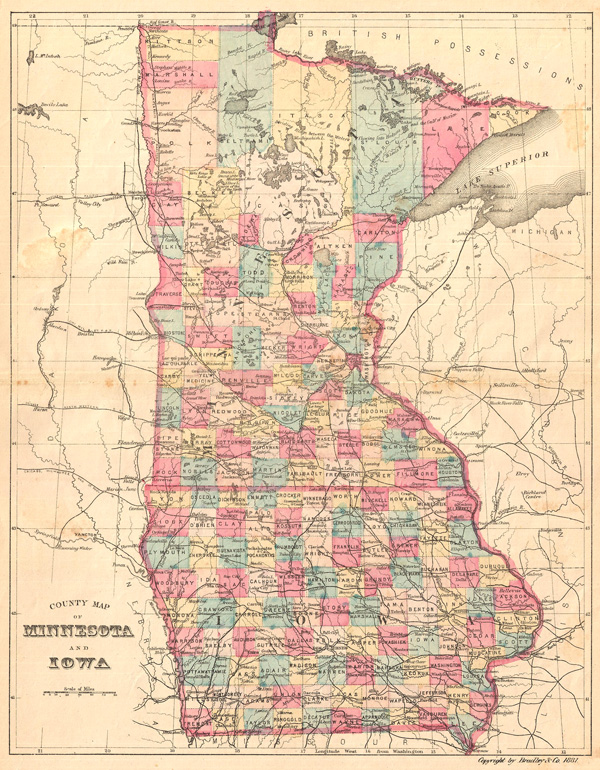 County Map of Minnesota and Iowa.