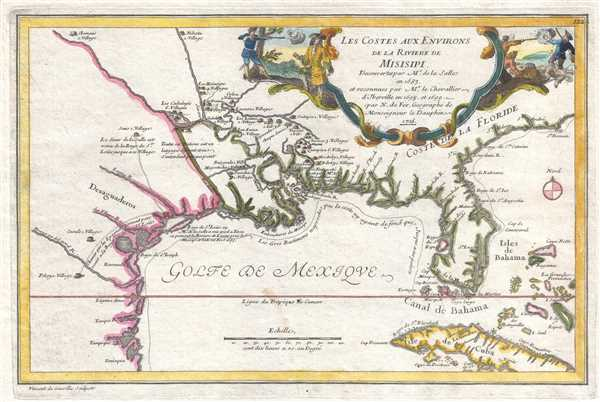 1705 De Fer Map of the Gulf Coast, Florida, Texas, and the Mississippi River