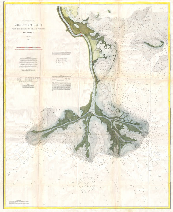 Coast Chart No. 94.  Mississippi River From the Passes to Grand Prairie, Louisiana.