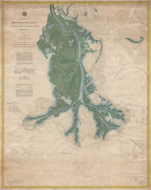 Coast Chart No. 94.  Mississippi River From the Passes to Grand Prairie, Louisiana. - Main View