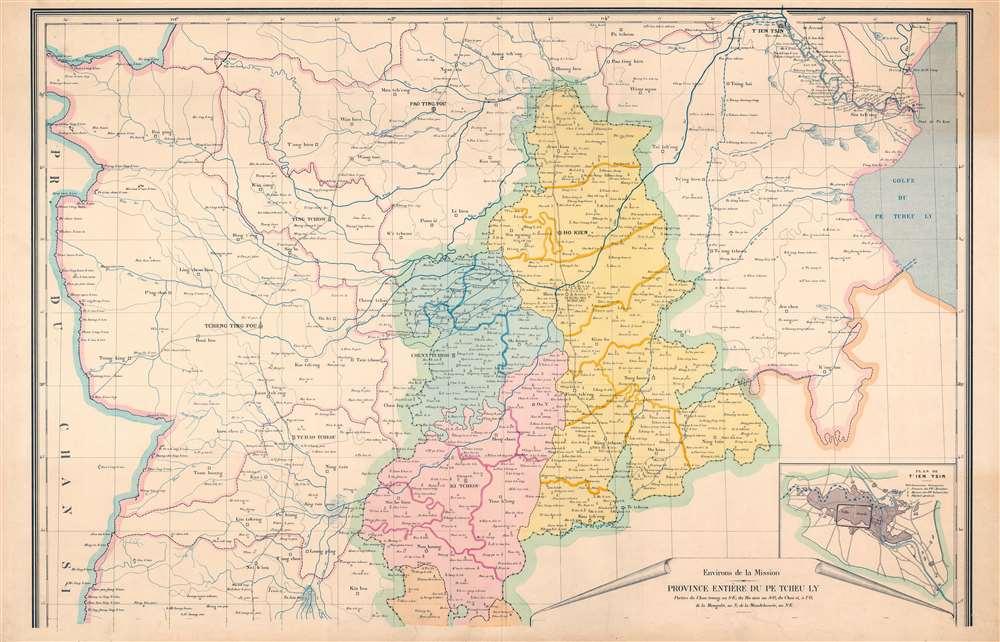 Carte de la Mission de la Compagnie de Jesus au Tcheu Ly Sud-Est Chine. - Alternate View 1