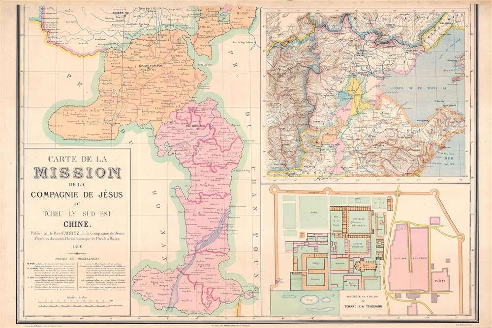Carte de la Mission de la Compagnie de Jesus au Tcheu Ly Sud-Est Chine. - Alternate View 2