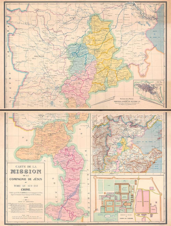 Carte de la Mission de la Compagnie de Jesus au Tcheu Ly Sud-Est Chine. - Main View