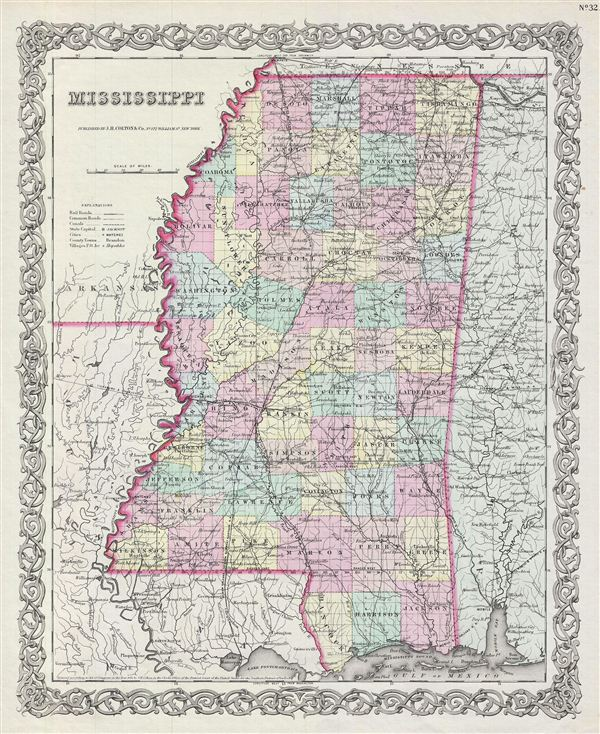 Antique Maps Of Arkansas Louisiana And Mississippi  Rare