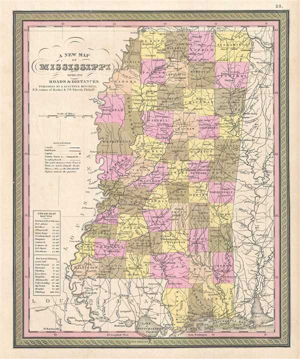 A New Map of Mississippi with its Roads and Distances.