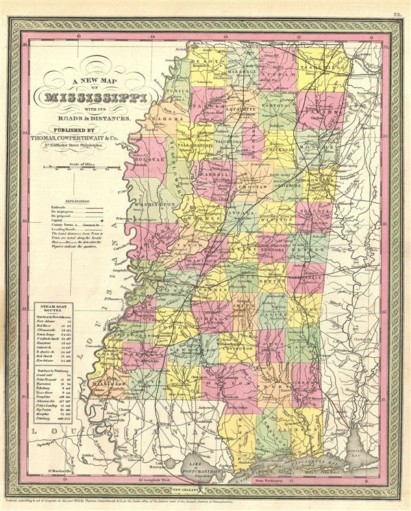 A New Map Of Mississippi With Its Roads Distances