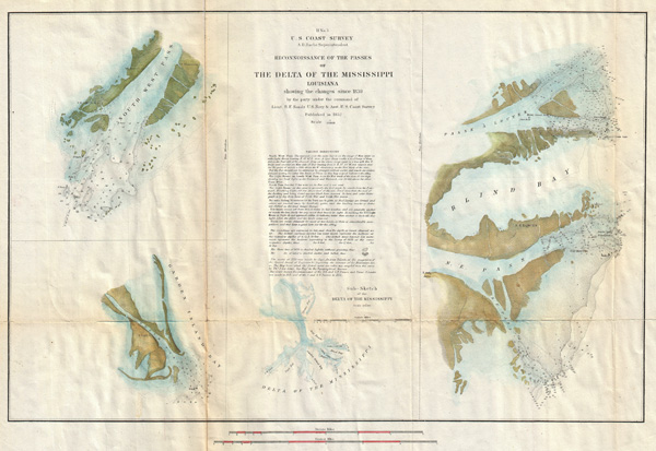 H No. 3 / Reconnoissance of the Passes of the Delta of the Mississippi, Louisiana, showing the changes since 1839. - Main View