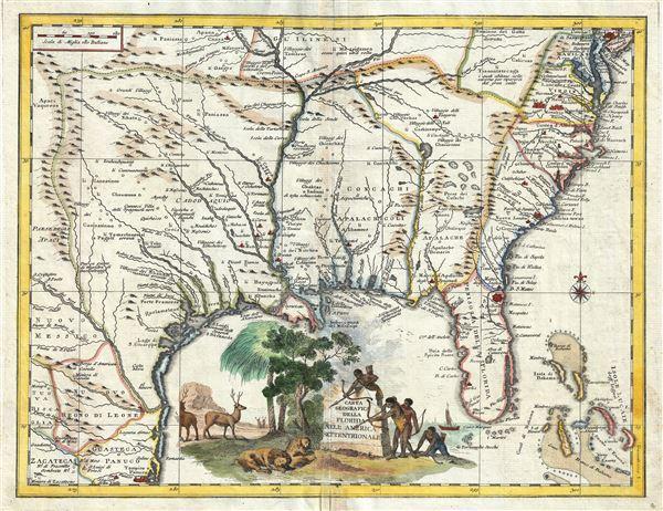 Carta Geografica Della Florida Nell' America Settentrionale.