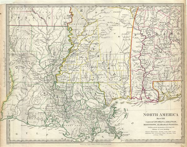 North America Sheet XIII Parts of Louisiana, Arkansas, Mississippi, Alabama and Florida.