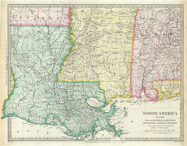North America Sheet XIII Parts of Louisiana, Arkansas, Mississippi, Alabama and Florida. - Main View