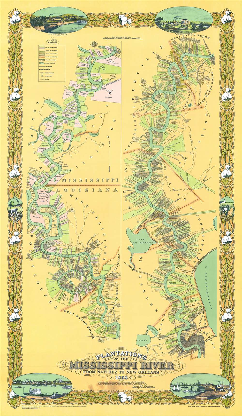 Plantations on the Mississippi River From Natchez to New Orleans 1858. - Main View