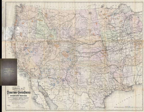 National Map of the Territory of the United States From The Mississippi River To The Pacific Ocean. Madeby the authority of the Hon. O. H. Browning Secretary of the Interior. In the Office of the Indian Bureau Chiefly For Government Purposes under the direction of the Hon. N.G. Taylor, Commisr. of Indian Affairsa and Hon. Chas E. Mix Chief Clerk of the Indian Bureau.