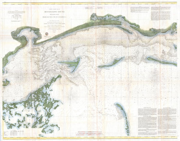 Coast Chart No. 92 Mississippi Sound Western Part From Round I. to St. Jospeh's I.