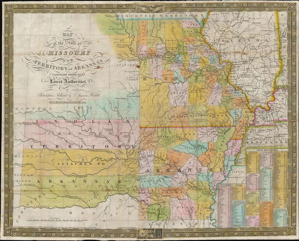 Map of the State of Missouri and Territory of Arkansas. - Main View