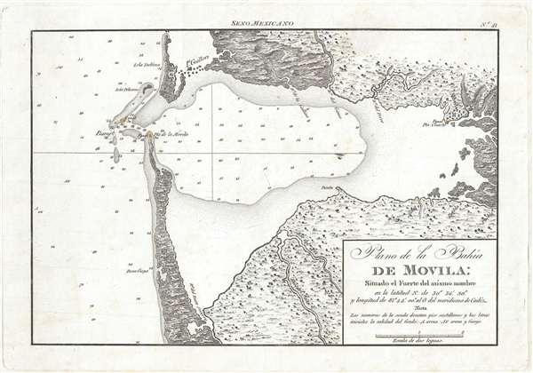 Plano de la Bahía de Movila Situado el Fuerte del mismo nombre en la latitud N. de 30º 36'' 30. y longitud de 81º 44' 00'' al O. del meridiano de Cádiz.