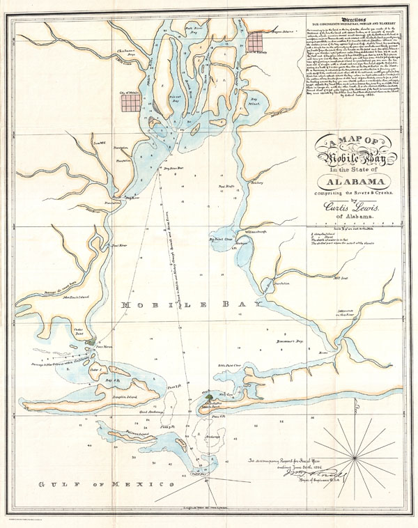 A Map of Mobile Bay in the State of Alabama comprising the Rivers & Creeks.