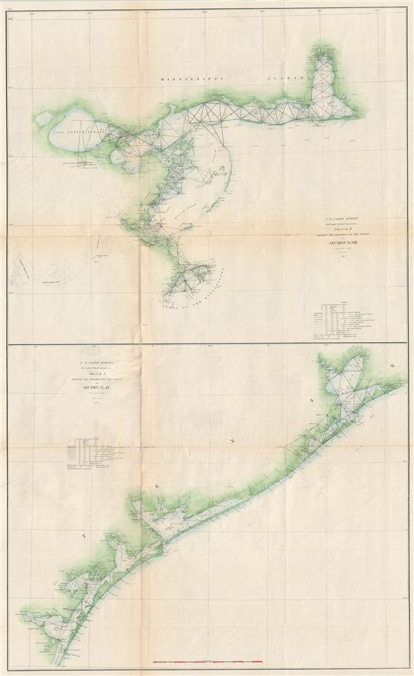 Sketch H Showing th Progress of the Sur5vey in Section No. VIII from 1846 to 1871. / Sketch I Showing the Progress of the Survey in Section No. IX from 1848 to 1871.