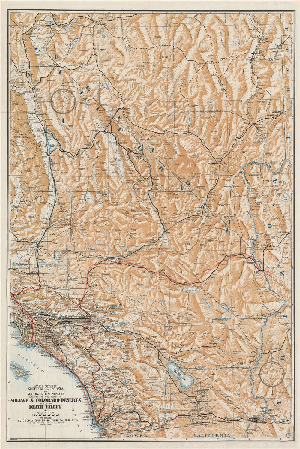 Map of a Portion of Southern  California and Southwestern Nevada Embracing the Arid Region of Mojave and Colorado Deserts Including Death Valley. - Main View