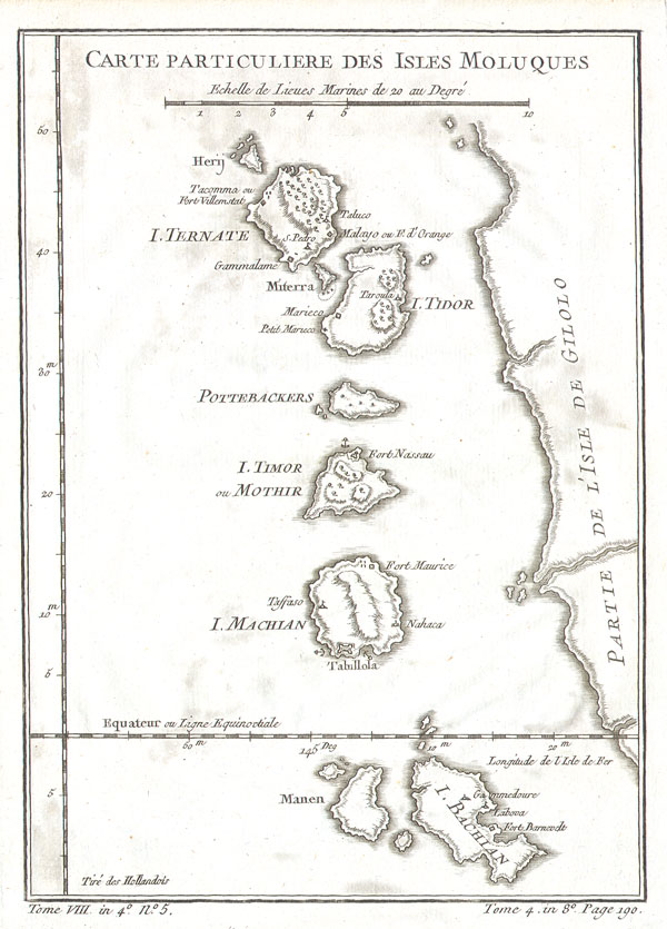 1760 Bellin Map of the Moluccas ( Maluku , Moluques )