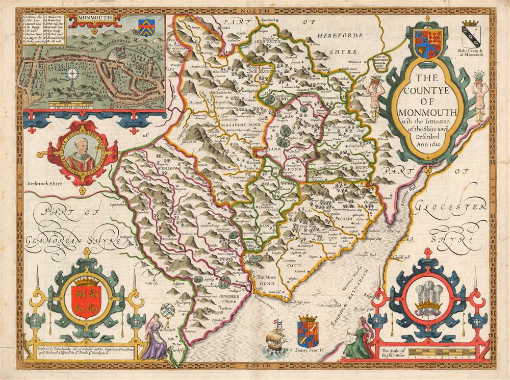 1676 John Speed County Map of Monmouthshire