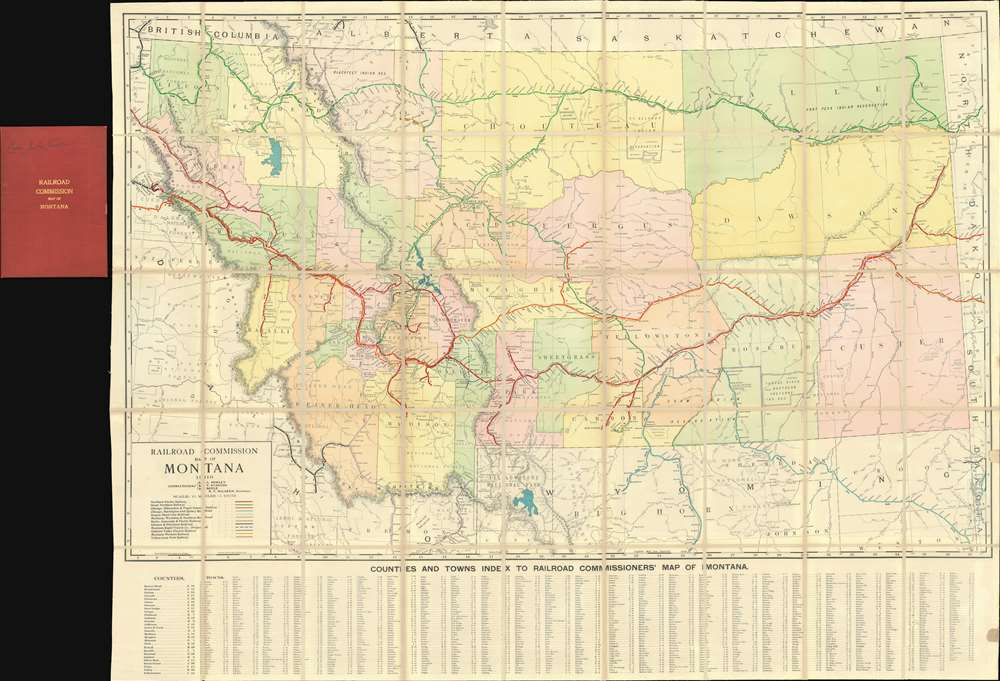 Railroad Commission Map of Montana. - Main View