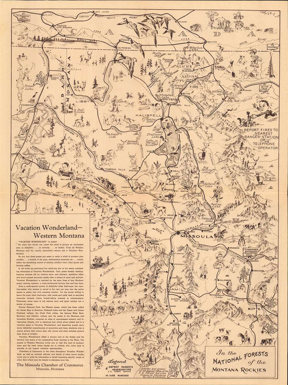 1940 LaCasse Pictorial Tourist Map of Western Montana