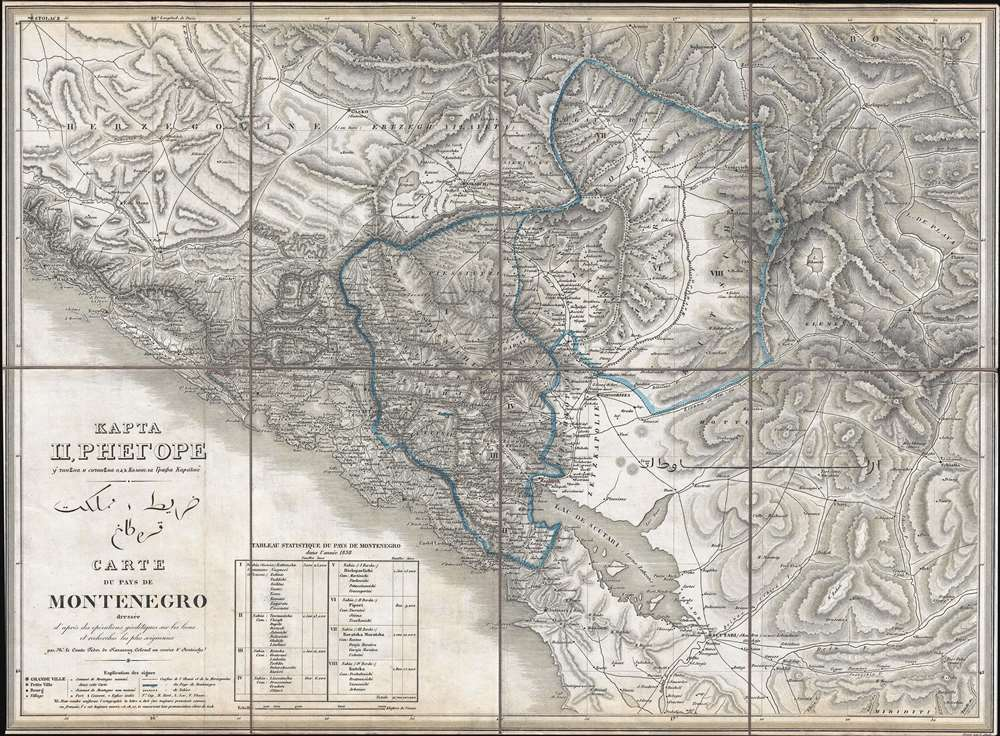 1838 Karacsay Map of Montenegro