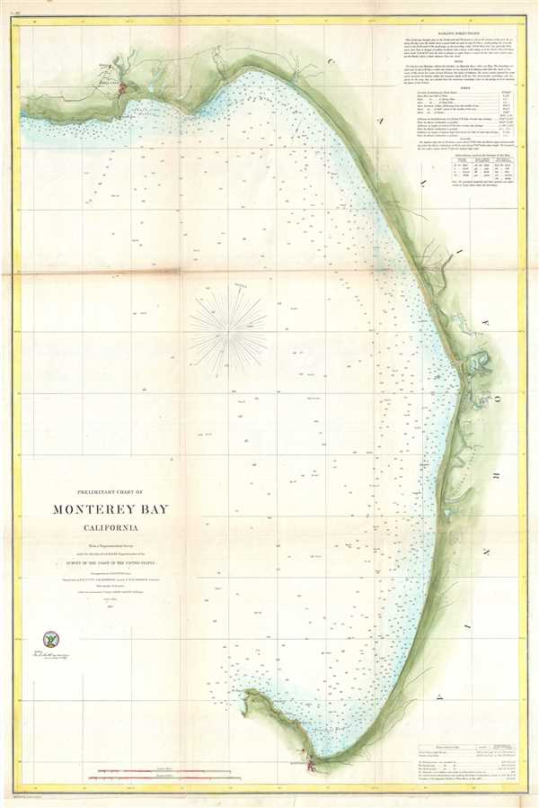 Preliminary Chart Of Monterey Bay California Geographicus Rare
